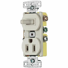 COMBO SWITCH/RECEPTACLE 15A IVORY