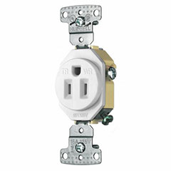 RECEPTACLE 15A SELF GROUND TAMPER PROOF WEATHER PROOF WHITE