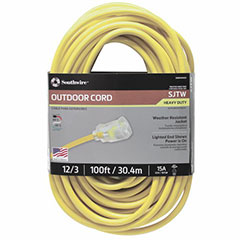 EXT CORD SJTW YLW 12/3 100FT