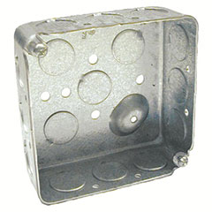 """HUBBELL SQUARE BOX 4"""", 12 1/2"""" KNOCKOUTS 1-1/2"""" DEEP"""