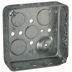 """HUBBELL SQUARE BOX 4"""", 8 1/2"""" AND 4 3/4"""" KNOCKOUTS 1-1/2"""" DEEP"""
