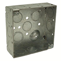 """HUBBELL SQUARE BOX 4"""" TKO KNOCKOUTS 2-1/8"""" DEEP"""