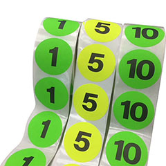 """2"""" Assorted Inventory Numbered Circles includes 10 rolls (1 thru 10)"""