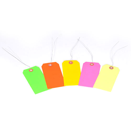 """#5 4 3/4"""" x 2 3/8"""" 13 Pt. Fluorescent Yellow Shipping Tags - Pre-Wired (1000/case)"""