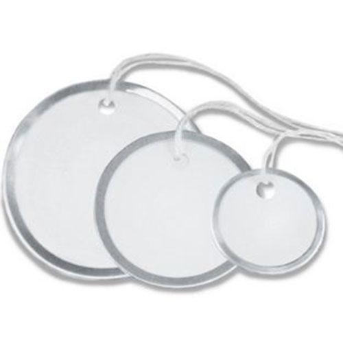 "1 1/2"" Circle Metal Rim Tags - Pre-Strung (100/case)"
