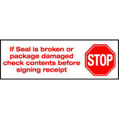 "2"" x 110 yds. 2.0 Mil Stop If Seal Is Broken Pre-Printed Carton Sealing Tape (36/Case)"
